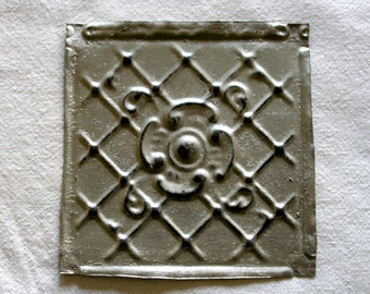 One Upcycled Antique Architectural Ceiling Tile - Pewter Scroll & Petal Motif