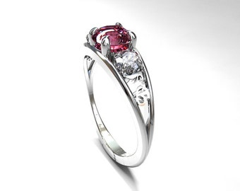 Pink Tourmaline and 0.50ct Diamond filigree ring, white gold, engagement ring, trinity ring, pink engagement, diamond wedding, tourmaline