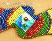 Rainbow Bead Embroidered Bracelet