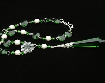 Emerald Green Crystal and Faux Pearl Necklace From Vintage Elements-Wedding Special Occasion Handcrafted Handmade Vintage