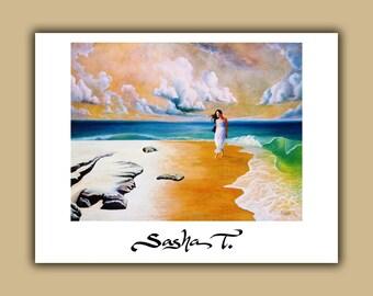 Ocean, beach, surf, clouds, women goddess print on paper, blue green gold and white