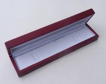 1 x red real wood veneer bracelet watch case gift presentation box - Matt satin wooden finish with white padded interior