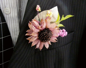 Rustic Boutonniere, Dried Wild Flower Boutonniere, Woodland Boutonniere, Groom Buttonholes, Groomsmen Pins