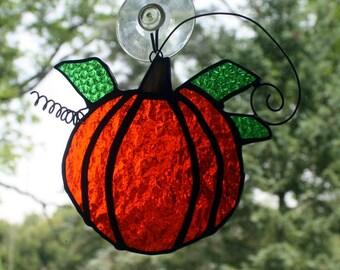 Stained Glass Pumpkin Sun Catcher, Fall Decor, Suncatcher, Glass Art