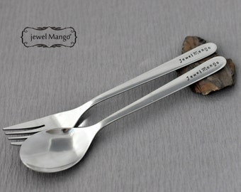 Personalized Spoon and fork set, Spoon, silverware, Personalized Custom spoon fork, dinner,dessert spoon,custom silverware, engraving spoon