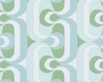Aqua Geometric Upholstery Fabric By The Yard Abstract Aqua And Apple Green Cotton Curtains And