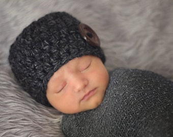 Charcoal Gray Baby Hat 0 to 3 Month Baby Girl Hat Baby Boy Hat Button Beanie Baby Girl Clothes Baby Boy Clothes Photo Prop Photography Prop