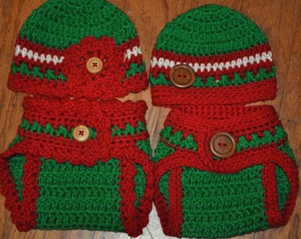 Crochet Hat and Diaper Cover Set for Twin Boy and Girl, Christmas Crochet Hat and Diaper Cover,Photo prop, shower gift, red, green, white,