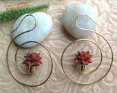 """Tribal Hanging Earrings, """"XL Flower Spirals"""" Natural Saba Wood, Brass/Sterling Posts, Handcrafted"""