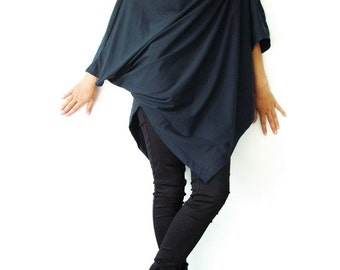 NO.63 Midnight Blue Cotton Jersey Asymmetrical Tunic Top