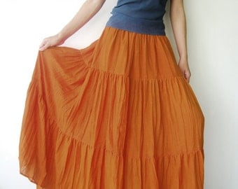NO.5 Orange Cotton Gauze, Hippie Gypsy Boho Tiered Long Peasant Skirt