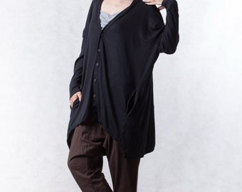 NO.155 Black Cotton-Blend Jersey Cardigan Slouchy Pattern Top