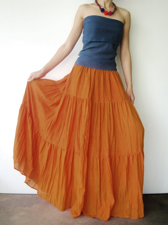 NO.5 Orange Cotton, Hippie Gypsy Boho Tiered Long Peasant Skirt