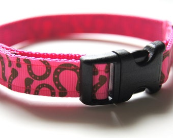 Pink Horse Shoe Dog Collar Adjustable Sizes (XS, S, M)