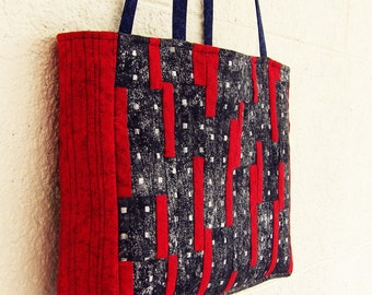 Black and red tote bag, patchwork quilted shoulder bag - Reduced to clear!
