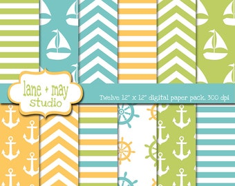digital scrapbook papers - yellow, green and aqua blue nautical patterns - INSTANT DOWNLOAD
