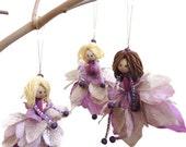 Fairy Ornaments, Set of 3, Handmade Doll, Flower Fairy Doll, Lavender Silver Ornament, Holiday Decor, inspirational, under 50, Christmas
