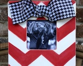 Chevron Picture Frame in Red, Houndstooth Ribbon - Distressed Wooden Frame - Baby - Wedding - Bridesmaid Gift - Shabby Chic Frame