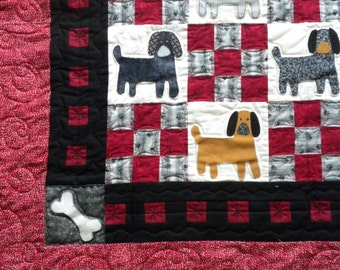 Dog Quilt Red Black and Tan