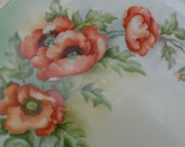 California Poppy Plate Signed D Davis Hand Painted Porcelain  Made in Arzberg Germany Dated 1953 Mid Century Decor Beautiful