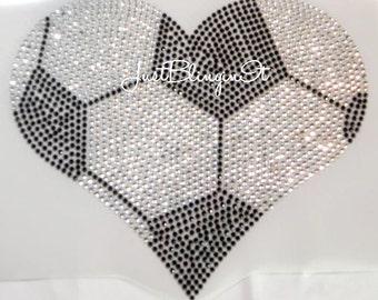 Soccer Ball Heart Large Iron On Rhinestone Transfer