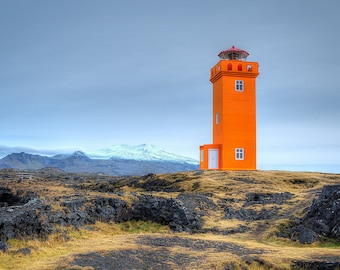 Lighthouse Photography - Iceland Photo - Landscape Print - Iceland Print, Orange Lighthouse, Lava Field, Desolate Landscape