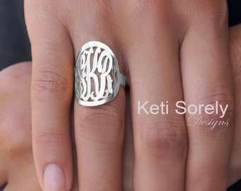 Monogram Ring - Large Initials Ring - Personalized Initials Ring With Frame - Your Name Initials on Ring - White Gold Or Sterling Silver