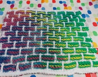 Knit washcloth - Handmade Rainbow and White Brick pattern Dish Cloth- Wash cloth Unique - USA grown cotton - Knit dish knit (KB4)