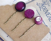 Antique fuchsia Bobby Pin Purple Hair Pin Upcycled Vintage Button barrette Vintage Inspired hairstyle