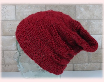 Slouchy Hat-Chunky Hat-Knitted Slouchy-Wool Blend Slouchy