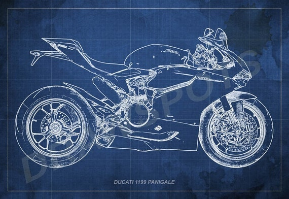 Ducati 1199 panigale blueprint art print 8x12in to 60x41in like this item malvernweather Gallery