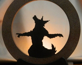 Howling at the Moon ~ Werewolf, Hanging wood decoration, Candle Holder, Halloween, Shadow, Silhouette