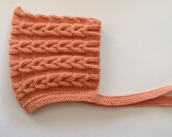 Hand knitted Pixie Bonnet to fit Newborn to 3 months baby. MAE Cabled Pixie hat in Custom colours.Made to Order.
