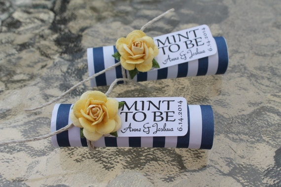 "Mint wedding Favors - Set of 24 mint rolls - ""Mint to be"" favors with personalized tag - navy, yellow, nautical stripe"