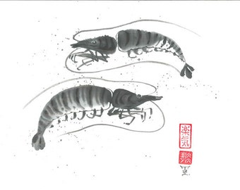 "Original Art ""Two lobsters"" - Japanese sumi-e - asian painting - Wall decor - home decor - black and white - minimalist art - gift for him"