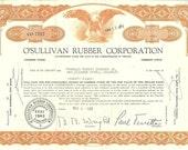 O'Sullivan Rubber Corporation, Vintage Scripophily, Stock Market Certificate