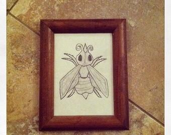 Bug- original framed pencil-on-paper drawing.