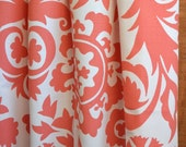 WINTER SALE ⋘ One Pair Window Treatments Curtains Drapery Panels 24W or 50W x 63, 84, 90, 96 or 108L Suzani White Coral shown