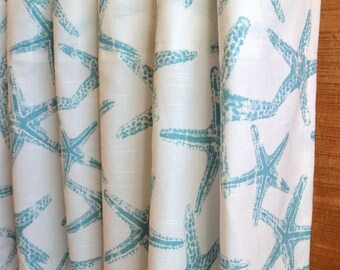 SUMMER SALE! Designer Curtain Panels 24W or 50W x 63, 84, 90, 96 or 108L Sea Friends Coastal Blue White shown, Beach House Curtains