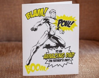 Fathers Day Letterpress Card - Amazing Dad Comic Book Card