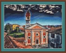 Ceva Church, Italy Cross Stitch Pattern