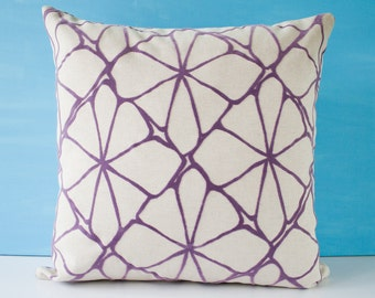 Purple pattern pillow cover, decorative pillow, throw pillow cover, accent cushion, purple cushion cover, modern pillow - 18 x 18 inches