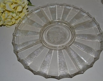 """Vintage Large ROUND CUT GLASS 13.5"""" Divided Relish Tray Plate Wedding or Home"""