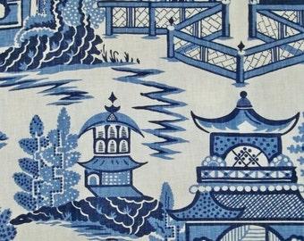 SCHUMACHER CHINOISERIE PAGODA Toile Linen Fabric 10 yards Blue White