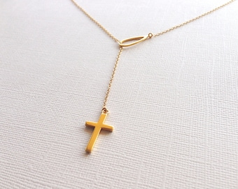 Lariat Cross Necklace in Sterling Silver (18K Yellow Gold Plating), Cross Jewelry