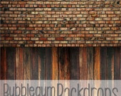 Warm Raggedy Brick & Vintage Oak - Vinyl Photography  Backdrop Photo Prop