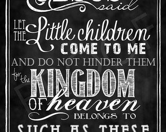 Scripture Chalkboard Art - Matthew 19:14