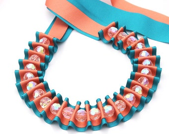 Ribbon jewelry, Teal and Coral crystal ribbon necklace