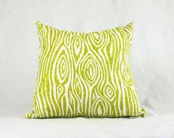 Lime Green Faux Bois Toss Cushion Throw Grass Green White