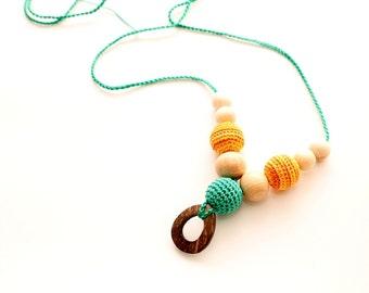 Orange & Emerald  Organic Nursing/Breastfeeding juniper necklace with pendant, Babywearing necklace, Teething toy